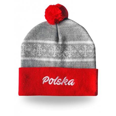 Czapka zimowa napis Polska |2