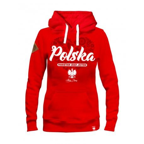 Bluza Damska Polska - pamiętam skąd jestem - Czerwona