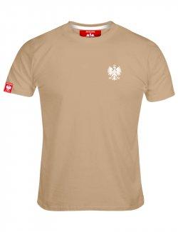 Koszulka męska Haft Orzeł - Piaskowa
