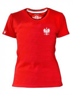 Koszulka damska Haft Orzeł - Czerwona