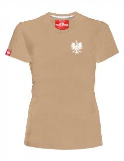 Koszulka damska Haft Orzeł - Piaskowa