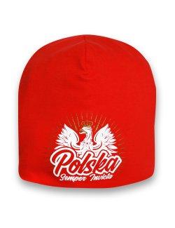 Czapka Polska - Semper Invicta, czerwona