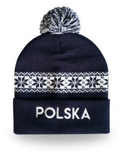 Czapka zimowa Polska - granatowa |1