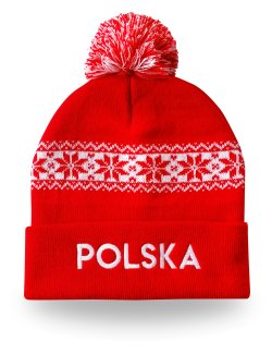 Czapka zimowa Polska - czerwona |1