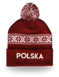 Czapka zimowa Polska - bordowa |1