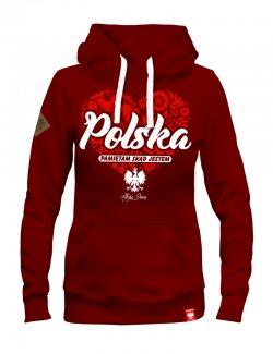Bluza Damska Polska - pamiętam skąd jestem - Bordowa