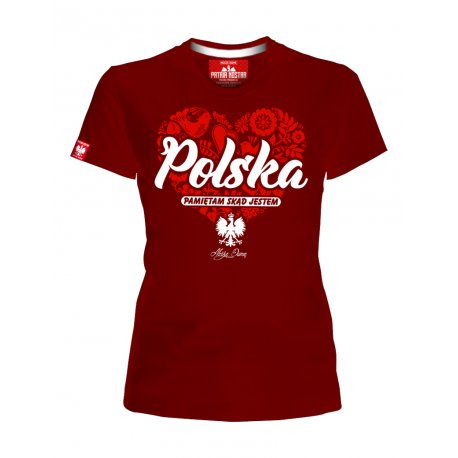 Koszulka damska Polska - pamiętam skąd jestem - Bordowa