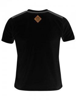Koszulka męska Szachownica haft - czarna