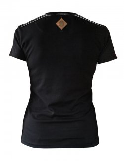 Koszulka damska Szachownica haft - czarna