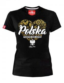 Koszulka damska Polska - pamiętam skąd jestem - Czarna