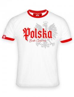 Koszulka męska Polska biało-czerwoni - Biała