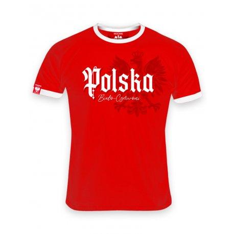 Koszulka męska Polska biało-czerwoni - Czerwona