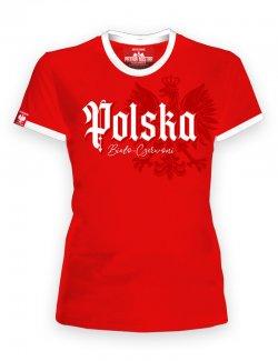 Koszulka damska Polska biało-czerwoni - Czerwona
